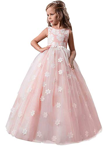 TTYAOVO Girls Pageant Princess Flower Dress Kids Prom Puffy Tulle Ball Gowns Size 10-11 Years Pink -
