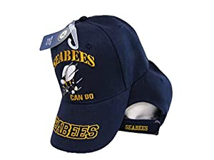 U.S. Navy USN Seabees Can Do Sea Bees Navy Blue Embroidered Cap Hat from Ant Enterprises.