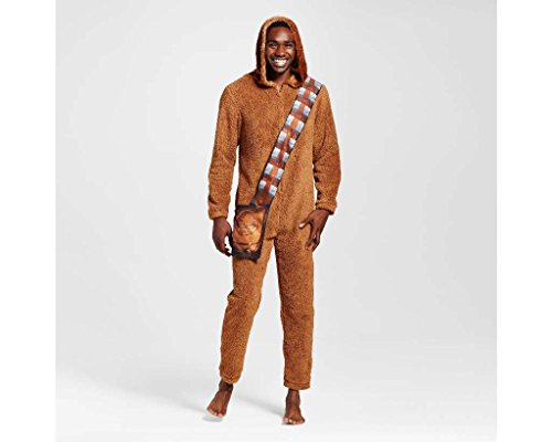 Star Wars Men's Chewbacca Adult Union Suit Hooded Pajama Costume (L, Brown)