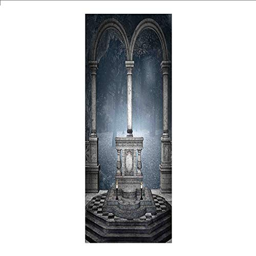 3D Decorative Film Privacy Window Film No Glue,Gothic,Altar on Checkered Floor in Scary Hazy Winter Forest Spiritual Scenery Illustration,Blue Grey,for Home&Office ()