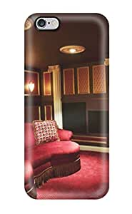 Hot Tpu Cover Case For Iphone/ 6 Plus Case Cover Skin - Basement Home Theater With Burgundy Seating