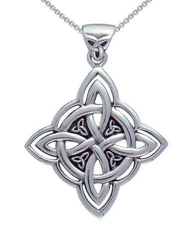 Jewelry Trends Sterling Silver Celtic Trinity Knot Pendant with Circle of Life on Box Chain Necklace (Sterling Silver Celtic Trinity Knot)