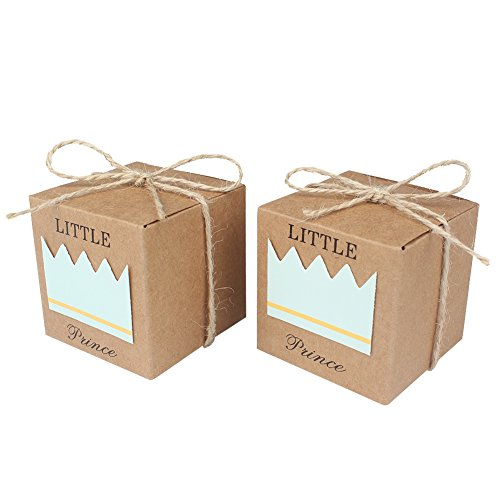 Little Prince Gift (AerWo 50pcs Little Prince Baby Shower Favor Boxes + 50pcs Twine Bow, Rustic Kraft Paper Candy Bag Gift Box for Baby Shower Party Supplies Cute 1st Birthday Boy Decoration, Blue)