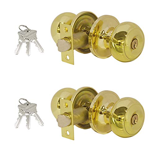 (Entry Door Knobs with Lock and Key Polished Brass,Keyed Alike Doorknobs Lockset Combo Pack,Entrance Function,Contractor Pack,Colonial Style Flat Ball Shape)