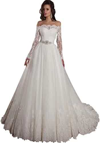 Elegant Off Shoulder Ball Gown Wedding Dress Sweep Train Long Tulle Bridal Gowns