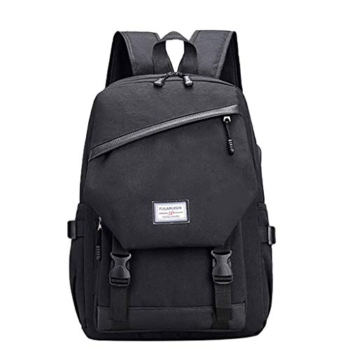 Shmei Travel Laptop Backpack, Casual Backpack Student Bag Outdoor Travel Backpack with USB Charging Port for Women & Men (Black)