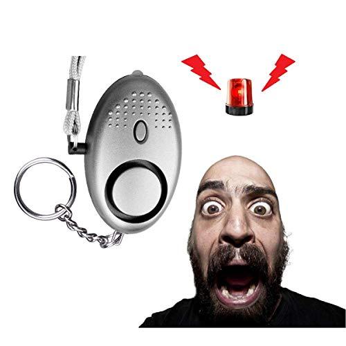 Personal Safe Alarm Keychain, 130 dB Safe Sound Alarm with LED Light Emergency Self-Defense for Women, Girls, Children, Elderly (Sliver)