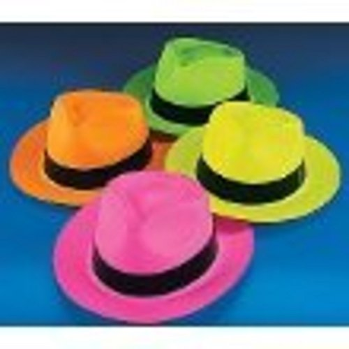 Fun Express Neon Color Plastic Gangster Hats - 12 Piece (Neon Gangster Hats)
