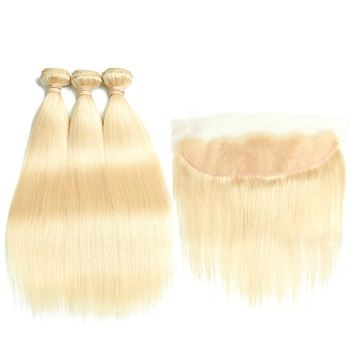 ALLRUN Hair 613 Blonde Hair 3 Bundles Weft with 13x4 Full Lace Frontal,Silk Straight 7A 100% Brazilian Virgin Hair (12 12 12 +10''Lace Frontal) by Allrun Hair