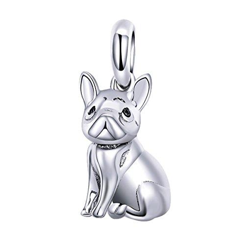 French Bulldog Dangle Charm Sterling Silver Puppy Dog Pet Animal Charm fits Pandora - Bulldogs Charm Silver