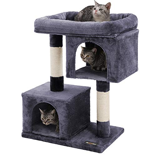 FEANDREA Cat Tree with Sisal-Covered Scratching Posts and 2 Plush Condos Cat Furniture for Kittens Smoky Gray UPCT61G