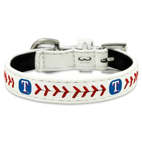 fan products of MLB Texas Rangers Classic Leather Baseball Dog Collar (Small)