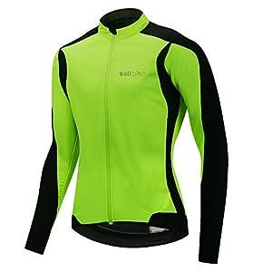 logas Veste de Vélo Thermique Homme Vêtement VTT Hiver Maillot Manches Longues Fluo