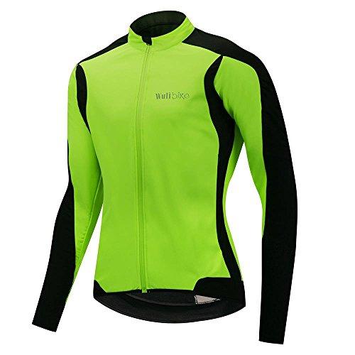 カセット牽引またねWulibike 冬用サイクルジャケッ 自転車 サイクリングウェア 長袖 ジャケット メンズ ウィンドブレークジャケット 防風防寒 蛍光グリーン