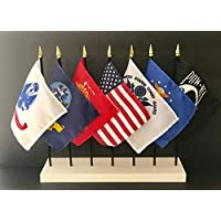 """Made in The USA!! United States Military World Flag Set with Solid White Stand-7 Rayon 4""""x6"""" Flags, One Flag for Each Armed Service, POW/MIA and USA; 4x6 Miniature Small Mini Desk Flags"""