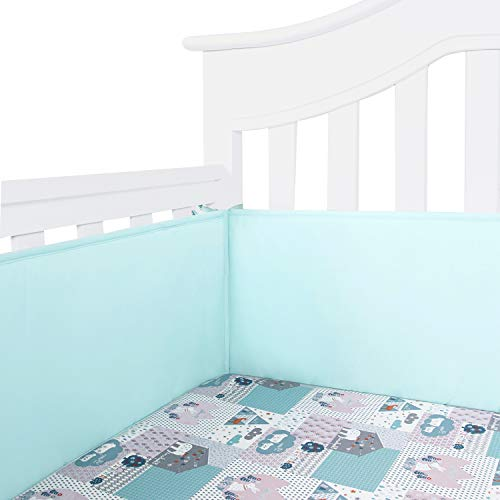 TILLYOU Cotton Collection Baby Safe Crib Bumper Pads for Standard Cribs Machine Washable Padded Crib Liner Thick Padding for Nursery Bed Safe Crib Guards Protector de Cuna, 4 Piece, Aqua