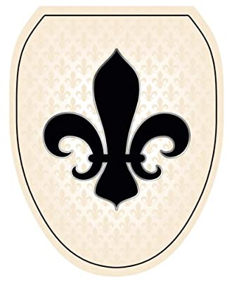 Toilet Tattoos, Toilet Seat Cover Decal,Black and Cream French Lily, Size Elongated