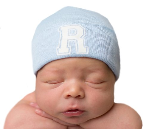 Melondipity's First Letter Initial Newborn Boy Blue Hospital Hat (P)