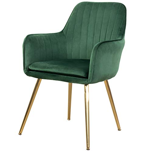 GOLDEN BEACH Elegant Velvet Dinning Chair Mid-Back Support Accent Arm Chair Modern Leisure Upholstered Chair with Gold Plating Legs (Green)