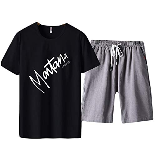 Fieer Mens Plus Size Drawstring Printed Cotton T-Shirts and Shorts Set Pattern9 2XL