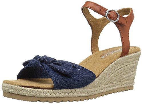 Skechers Cali Women's Monarchs-Daisy Dukes Wedge Sandal,Denim,11 M US -