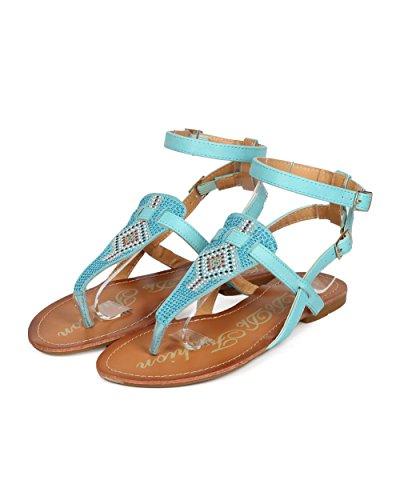DbDk ED96 Gladiator Thong Blue Strap Studded Women Boho Ankle Sandal FHwdnvFrp