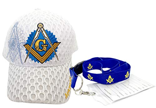 Freemason Mason Symbol Adjustable 3D Embroidery Baseball Mesh Cap Hat w/Lanyard (White)