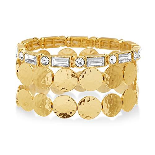 Catherine Malandrino Rhinestone Link and Round Disc Yellow Gold -Tone Stretch Trio Bracelet Set for Women