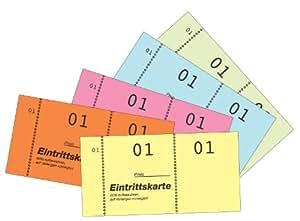 """Avery Dennison 871-5-1 - Talonario de entradas (5 unidades, numeración 1-500, 105 x 53 mm), diseño con texto """"Eintrittskarte"""", color naranja"""