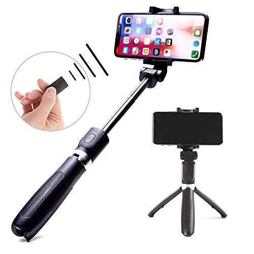 Xerqa Bluetooth Selfie Stick Black : 2-in-1 Wireless Selfie Stick and Phone Tripod for Remote Control Photos and Videos, Extendable and Angle Adjustable for All Smartphones, iPhone and Samsung Galaxy