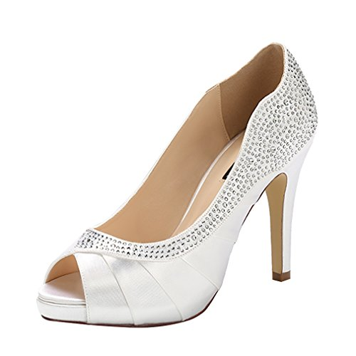 ERIJUNOR E1613 Women Peep Toe High Heels Comfortable Fashion Rhinestones Satin Evening Prom Wedding Sandal Shoes White Size 10
