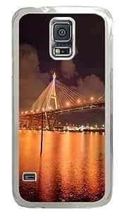 Bhumibol Bridge Bangkok City In The Evening Custom Samsung Galaxy S5 Case Back Cover, Snap-on Shell Case Polycarbonate PC Plastic Hard Case Transparent
