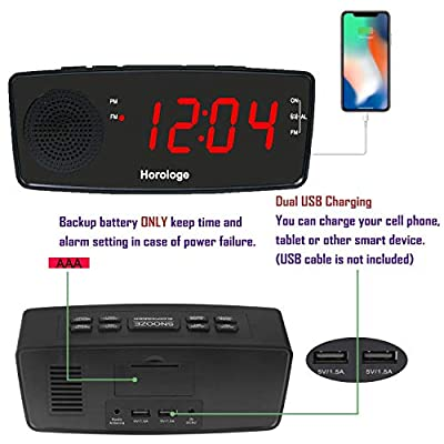 "Digital Alarm Clock, USB Clock Radio, Alarm Clock Radio with FM Radio, Dual USB Charging Ports, Large 1.2"" Display, Snooze, Sleep Timer and Dimmer for bedrooms (Black)"