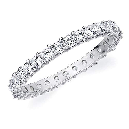 1CT Passion Eternity Diamond Ring in 14K White Gold Shared Prong Setting - Finger Size 5.75