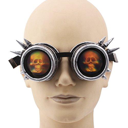 Lunettes Rivet amp;X Horreur Goggles C Lunettes Steampunk Party Thème Halloween Argent Unisexe UZOwB1