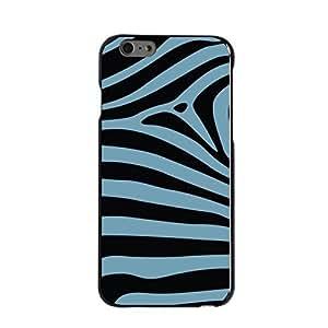 "Black Hard Plastic Snap-On Case for iPhone 6 (4.7"") - Black Blue Zebra Skin Stripes Customized LO.O Case"