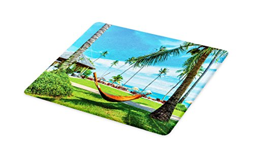 Lunarable Beach Cutting Board, Hammock Between Palm Trees Honeymoon Holiday Vacation Holiday Theme Resort Picture, Decorative Tempered Glass Cutting and Serving Board, Small Size, Green Blue