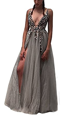 KaBuNi Womens Sexy Deep Double V Neck Bling Prom Dress Slit Evening Gowns