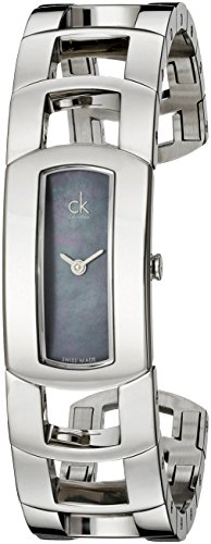 Calvin Klein Women's K3Y2M11F 'Dress' Black Mother of Pearl Dial Stainless Steel Bangle Swiss Quartz Watch Calvin Klein Pearl