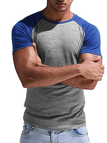 Taoliyuan Mens Short Sleeve T Shirt Baseball Raglan Slim Fit Crew Neck Cotton Athletic Color Block Tunic Light Shirts (Large, B-Blue)