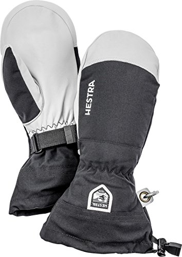 Hestra Mens and Womes Ski Gloves: Army Leather Wind-Proof Water ResisTant Winter Mitten, Black, 10