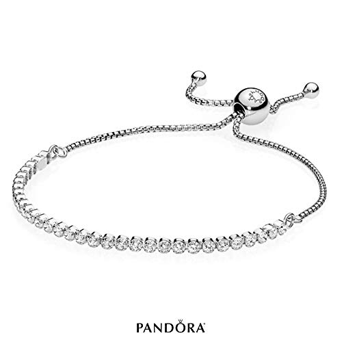PANDORA Sparkling Strand Bracelet, Sterling Silver, Clear Cubic Zirconia, 9.1 in (Authentic Tiffany & Co Jewelry)