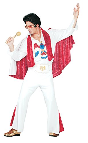 Pony Express Mens Deluxe Jumpsuit Outfit Elvis Presley Licensed Sequins Costume, One Size ()
