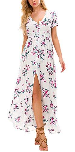 Women's Boho Printed Long Maxi Dress Button up Split Flowy Dress (L, 4)
