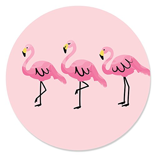 Big Dot of Happiness Pink Flamingo - Tropical Summer Circle Sticker Labels - 24 Count