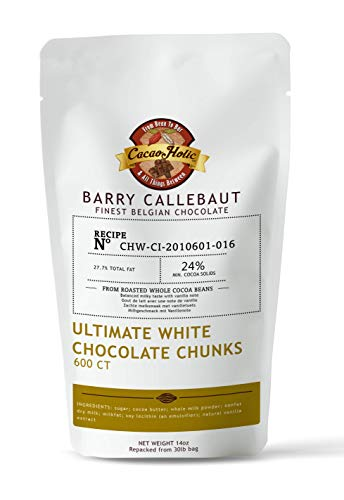 Barry Callebaut White Chocolate Chunks   600 Count Size   Cacaoholic Resealable Stand Up Pouch   14 Ounces