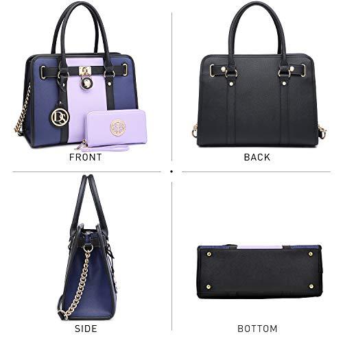 DASEIN Women's Fashion Handbags Shoulder Bag Satchel Purse Tote Top Handle Work Bag 2pcs Set for Ladies Women