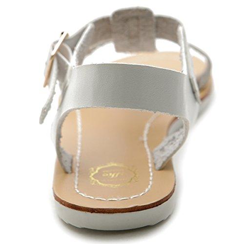 Ollio Damessandriem Aan De Zijkant Gesp Slingback Multi Kleur Plat Sandaal Wit