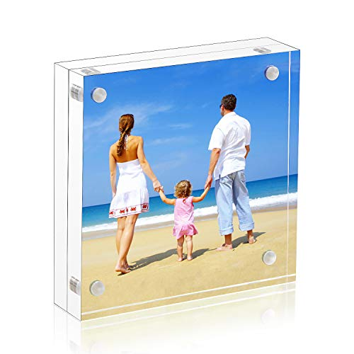 NIUBEE 5x5 Clear Acrylic Picture Frames 20% Thicker Blocks with Gift Box Package, Self Standing Magnetic Photo Frame, Frameless Desktop Card Display (5 X 5 Block)