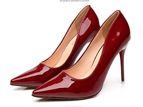 Easemax Womens Fashion Stiletto Pointed Toe Low Top Slip On D-orsay High Heel Pumps Shoes Wine Red QCqDsKlqd